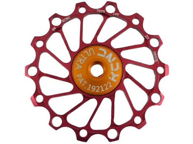 KCNC Jockey Wheel Narrow Wide 14T SS Bearing, rojo